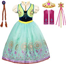 aibeiboutique Princess Anna Costume Halloween Cosplay Deluxe Dress Up for Girls