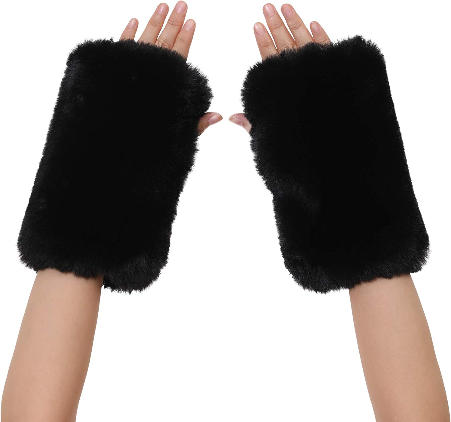 La Carrie Women Fingerless Faux Fur Gloves Smooth Furry Soft Fuzzy Plush Winter Cold Warmer Cuffs Black White for Girls