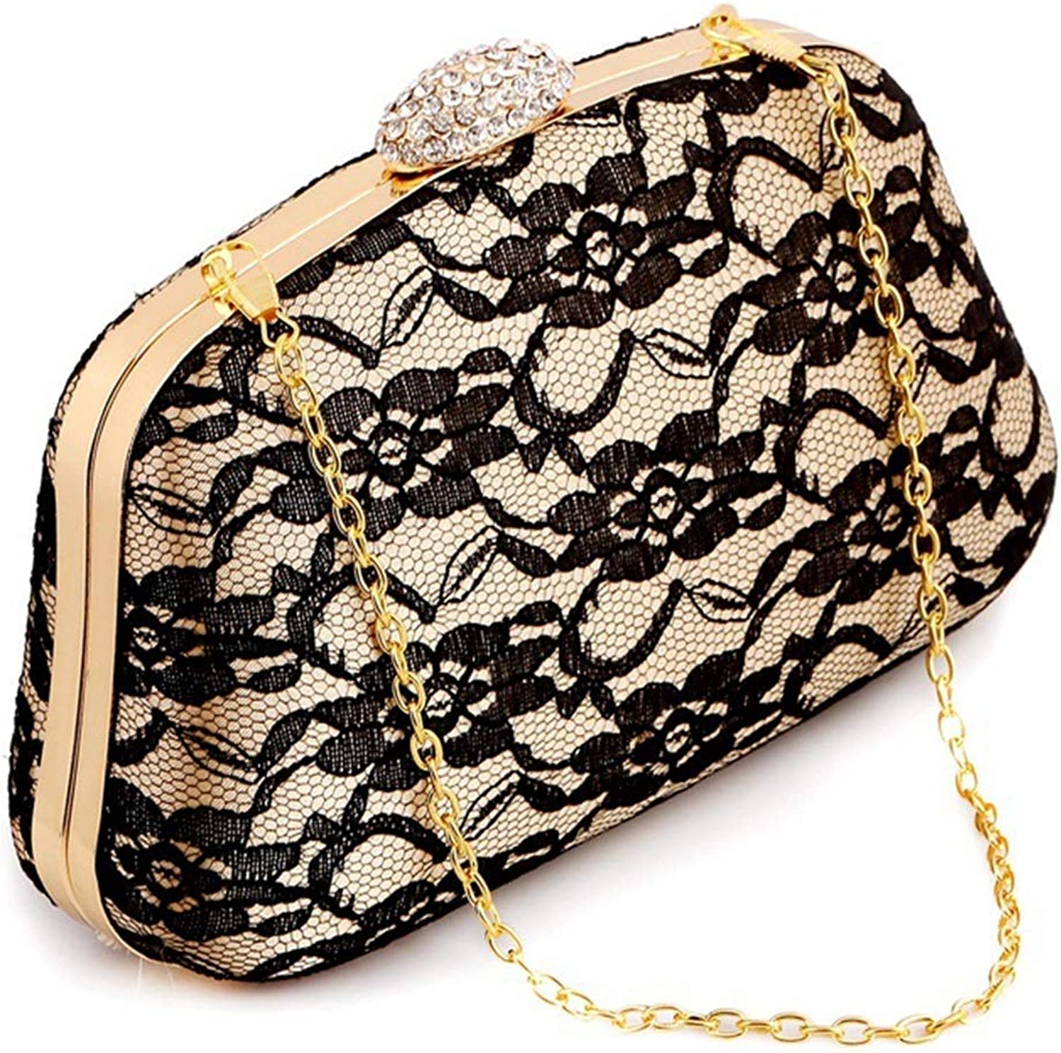 Ladies Handbag Lace Evening Bag Hard Case with Drill Clutch Retro Lady Party Chain Bag Evening Package (color   Apricot)
