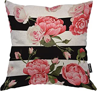 Moslion Floral Decorative Pillow Case Pink Reony and Rose Flower Green Leaves on Black White Stripes Throw Pillow Cover Square Accent Cotton Linen Home 18x18 Inch