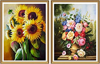Yomiie 5D Diamond Painting Sunflower & Colorful Flower Full Drill by Number Kits for Adults, DIY Paint with Diamond Art Flowerpot Rhinestone Embroidery Cross Stitch Craft Decor (12x16inch, 2 Pack)