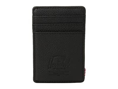 Herschel Supply Co. Raven Leather RFID (Black Pebbled Leather 1) Wallet Handbags