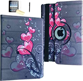 JYtrend iPad Air 2 Case, (R) Rotating Stand Smart Case Cover Magnetic Auto Wake Up/Sleep for iPad Air 2 A1566 A1567 MGKM2LL/A MGTY2LL/A MH182LL/A MH1J2LL/A MH2N2LL/A MNV22LL/A (Pink Heart Flower)