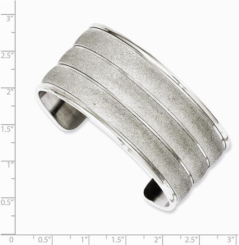 Solid Stainless Steel Laser Cut Cuff Bangle Bracelet (Width = 31mm)