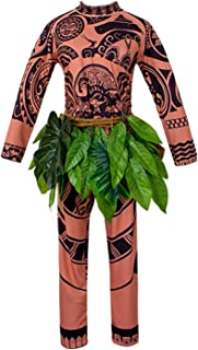 WEEOH Moana Maui Tattoo T Shirt/Pants Halloween Cosplay Costume Maui Costume Adult Men(M/L/XL/XXL)