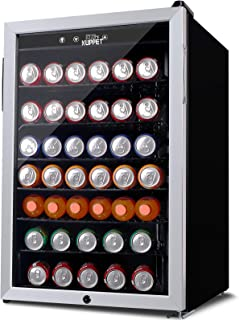 KUPPET 150-Can Beverage Cooler and Refrigerator, Small Mini Fridge for Home, Office or Bar with Glass Door and Adjustable ...