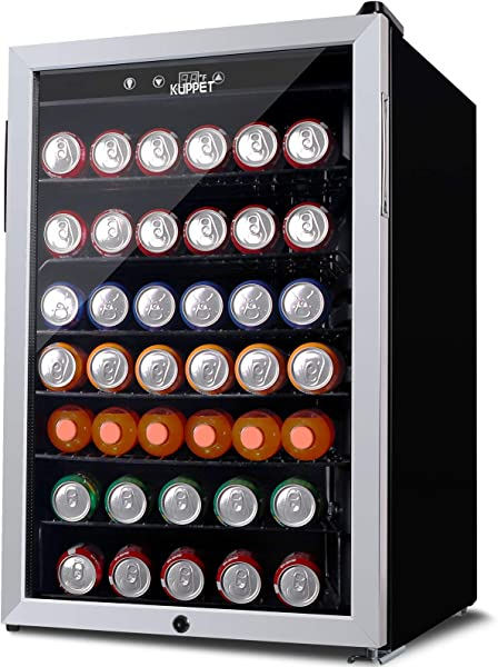 KUPPET 150 Can Beverage Cooler And Refrigerator Small Mini Fridge For Home Office Or Bar With Glass Door And Adjustable Removable Shelves Perfect For Soda Beer Or Wine Stainless Steel 4 5 Cu Ft