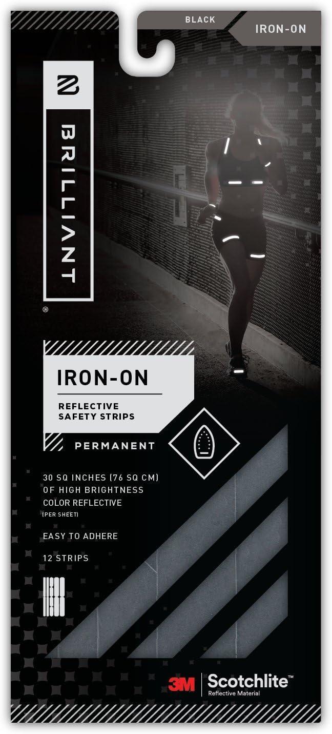Brilliant Reflective Iron-On Reflective Tape Adhesivas termoadhesivas para Ropa-Fabricado con Material Reflectante Scotchlite de 3 m, Lavable e Impermeable, 8 Tiras, Unisex Adulto, Negro