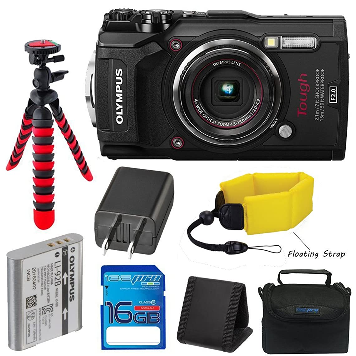 Olympus TG-5 Waterproof Camera with 3-Inch LCD (Black) with I3ePro 16GB Class 10 SD Card, Camera Case and Accessory Bundle