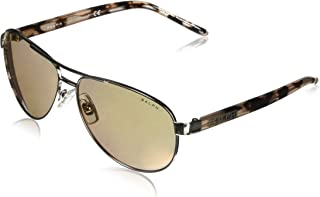 Women's RA4004 Aviator Metal Sunglasses, Silver/Light Brown Flash Electric, 59 mm