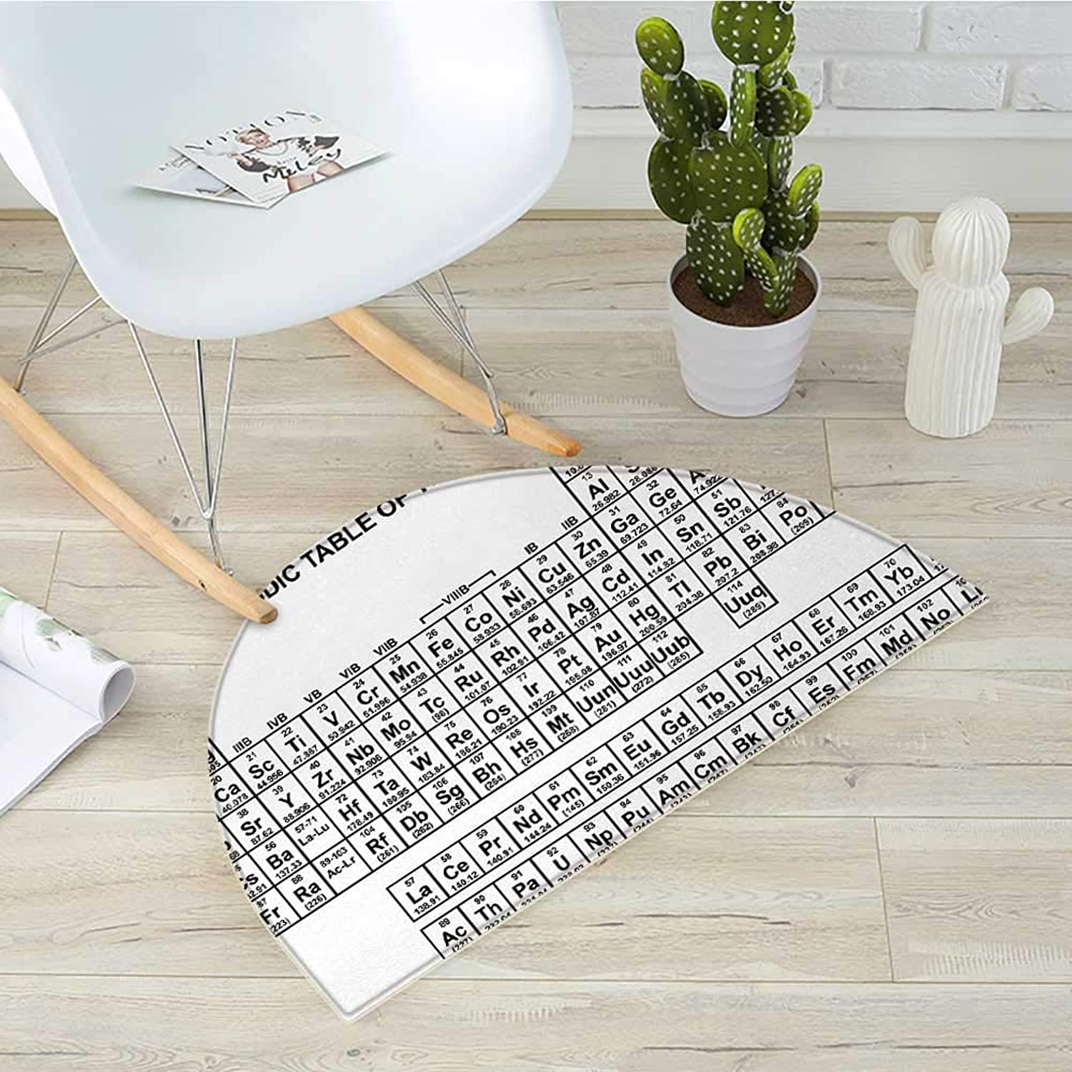 Periodic Table Semicircular CushionMonochrome Simple Science Chemistry Elements for Students Class Image Entry Door Mat H 31.5  xD 47.2  Black and White