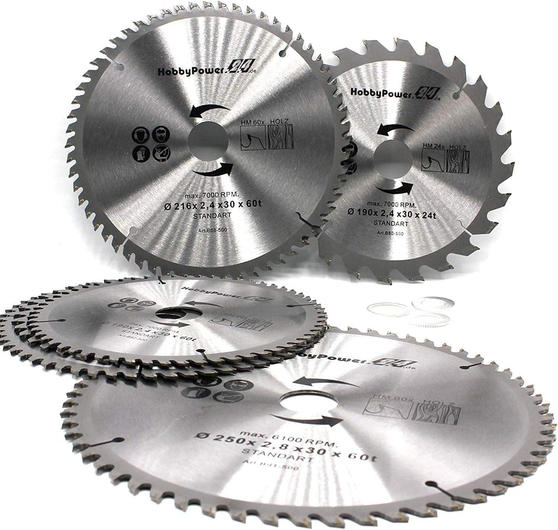 Hoja de sierra circular 230 x 30 mm, 60 dientes + 3 anillos reductores en 24,4 mm, 20 mm y 16 mm universal para sierra circular de madera, sierra tronzadora, sierra ingletadora