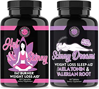 Angry Supplements Hot & Skinny Thermogenic + Skinny Dreams Sleep Aid Women's Weight Loss Combo (2-Pack Bundle), Day and Ni...