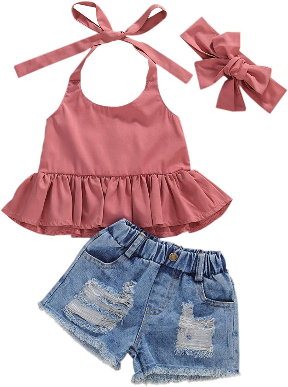 Toddler Girls Clothes Short Sets Ruffle Halter Crop Top + Ribbed Denim Shorts Fashion Toddler Girl Summer Outfits