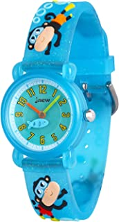 Wolfteeth Little Girls Boys Analog Wrist Watch Water Resistant School Day Christmmas Gift Sport Watch Unique TransparencyWatchband 3084