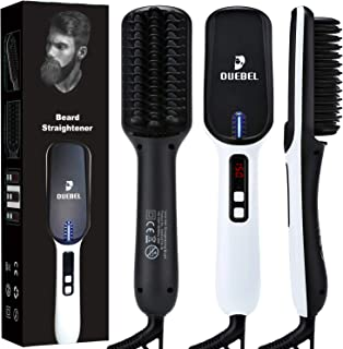 "DUEBEL Beard Straightener for Men Ionic Heated Beard Brush Anti Scald Heated Beard Comb Electric Hair Straightener Brush Heated Comb Work Best for Beards Lengths over 3"" or Long Hair"