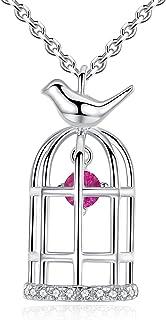 GemShadow donne ragazze 925sterling Silver Dancing Cubic zirconia Birdcage collana