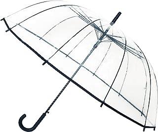 Smartbulle フランスのデザイン 透明傘 大きいサイズ 長傘 ジャンプ傘 おしゃれ ドーム型 高強度グラスファイバー採用 梅雨対策 バブルアンブレラ 女用の傘 頑丈な 12本骨(ブラック)