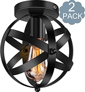 2 Pack Industrial Ceiling Light E26 E27 Vintage Globe Caged Semi-Flush Mount Ceiling Fixture for Hallway Porch Bedroom