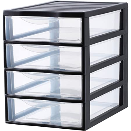 SUNDIS 4506003 Tour de Rangement Format A4 4 tiroirs avec Poignée ergonomique Système d'Arrêt à l'Ouverture, Plastique, Noir