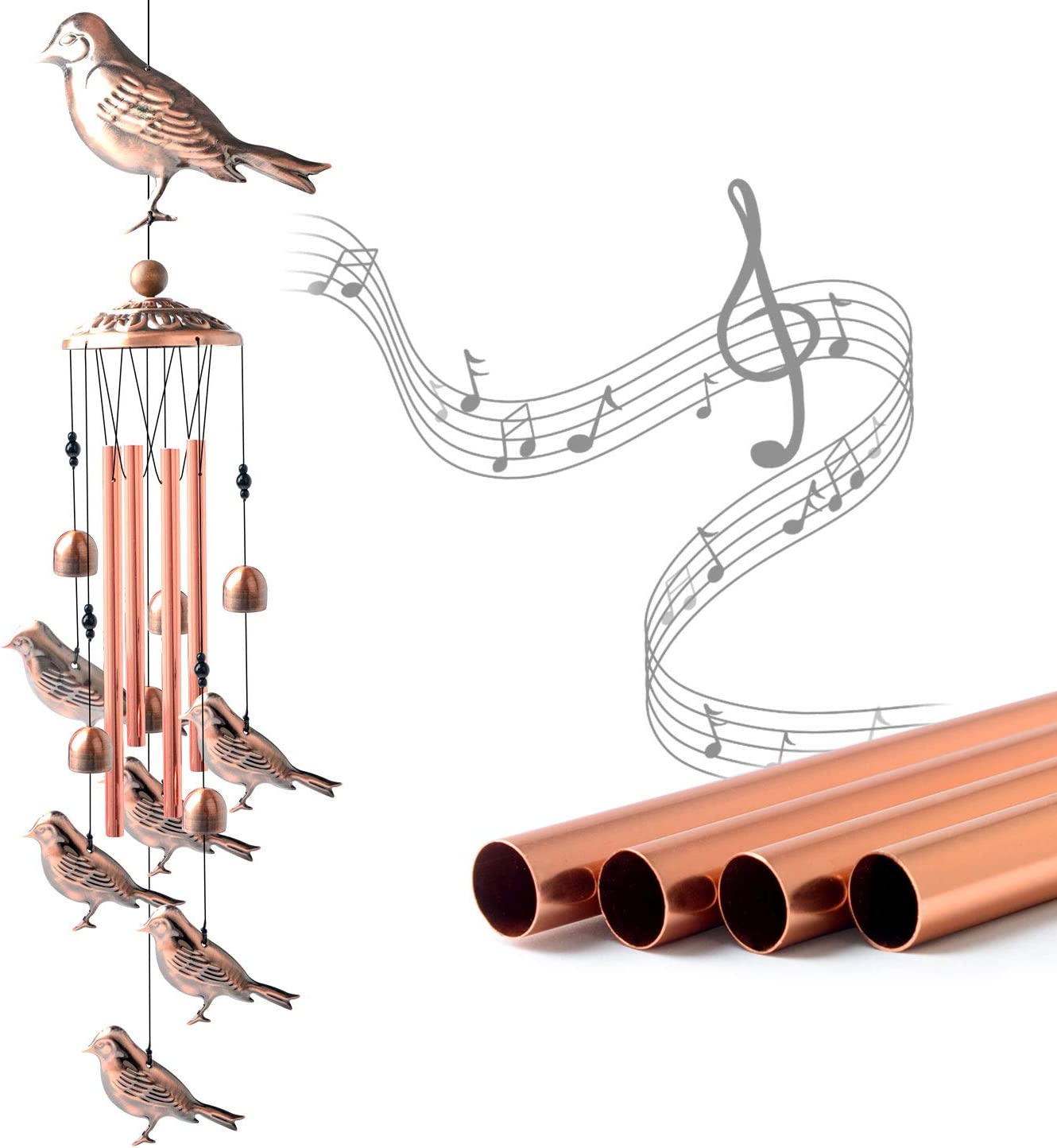 Copper Wind Chime Wind Chimes Outdoor Memorial Wind Chimes Gifts for Grandma Thanksgiving Gifts Garden Gift Garden Yard Decor Gifts for mom Wind Bell JOBOSI Tortoise Wind Chimes