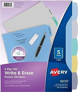 AVERY 5-Tab Plastic Binder Dividers, Write & Erase Multicolor Big Tabs, 1 Set (16170)