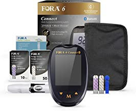 FORA 6 Connect Blood Ketone and Blood Glucose Testing Meter Kit to Monitor Diabetes and Your Ketogenic Diet, 1 Meter, 1 Lancing Device, 100 Lancets, 10 Ketone Strips, 50 Glucose Strips, Carry Case