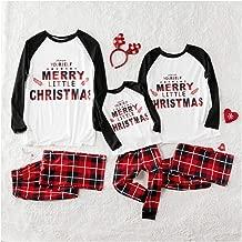 Iusun Christmas Matching Family Pajamas Printed Letter Top+Lattice Pants Long Sleeves Blouse Sleepwear Xmas PJs Clothes Set for Men Women Kids