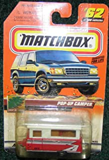 MATCHBOX 1999 #62 GREAT OUTDOORS SERIES RED AND WHITE POP-UP CAMPER