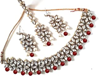 Jewellery Bollywood Ethnic Traditional Indian Choker Necklace Set with Earrings and Maang Tikka for Women
