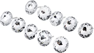 Mgoodoo 20pcs 25mm Shiny Pattern Crystal Sofa Screw Nail Button Headboard Wall Upholstery Furniture Decor