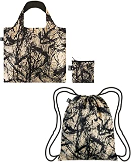 LOQI A70882_A70857 Exotic Prints Backpack & Bag, ((Set of 2), Jackson Pollock Number 32