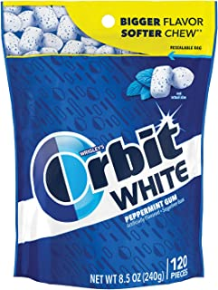 ORBIT Gum WHITE Peppermint Sugarfree Chewing Gum, 8.5 Ounces Resealable Bag 120 Pieces (Pack of 8)