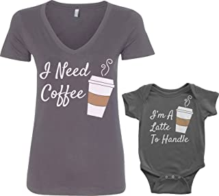 Threadrock Coffee & Latte Infant Bodysuit & Women's V-Neck T-Shirt Set