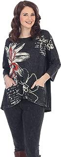 Jess & Jane Women's New Life Black Mineral Washed Patch Pocket Cotton Tunic