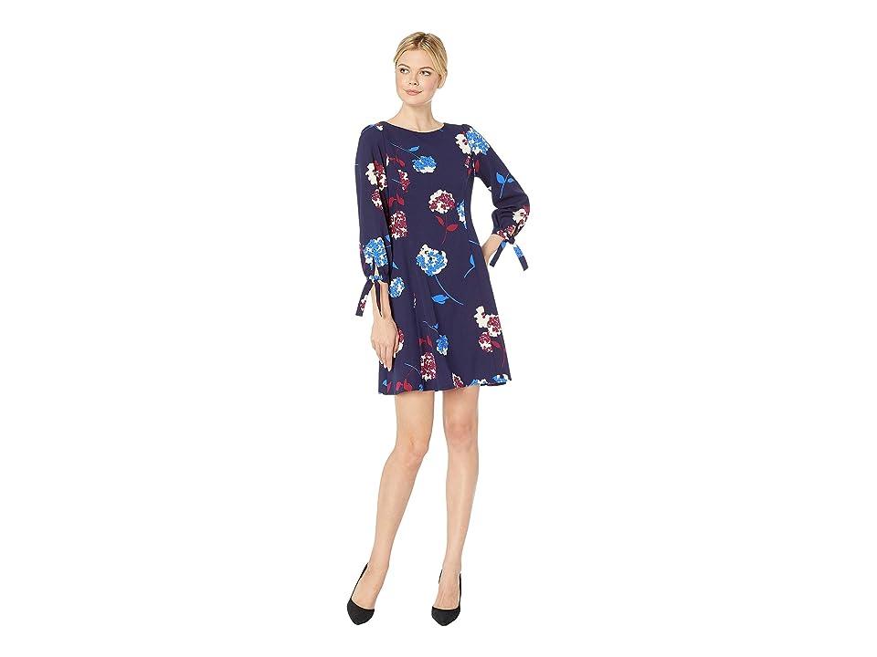 Nine West Hydrangea Floral 3/4 Sleeve Dress w/ Ties (Navy/Cobalt Multi) Women