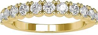 خاتم زفاف نصف الأبدية من Diamondrensu مقاس 0.90 TW مستدير رائع بدون لون، خاتم الذكرى السنوية للنساء، مجموعة خواتم الزفاف