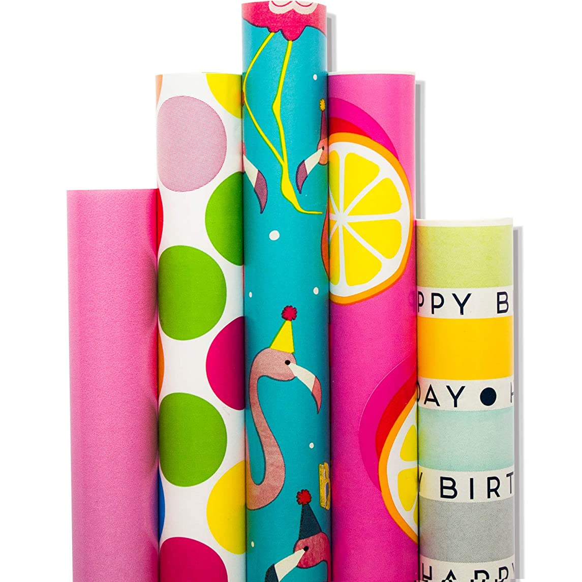 Wrapping Paper - 5 Roll-30Inch x 10Feet Per Roll-Design for Birthday, Mother Day, Valentine`s Day, Wedding, Baby Shower, Christmas Gift Wrap, Flamingo, Orange xsqundpxiciplw
