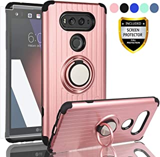 AYMECL LG V20 Phone Case,LG V20 Case with HD Screen Protector,360 Degree Rotating Ring Holder Travel Case Scratchproof Cover for LG V20-SH Rose Gold-1