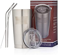 OUTZIE Vacuum Insulated American Flag Tumbler 20oz Built From 100% Food Grade Stainless Plus 2 Straws & Brush - Hot or Cold - Etched American Flag Logo - will last a lifetime - Dishwasher Safe