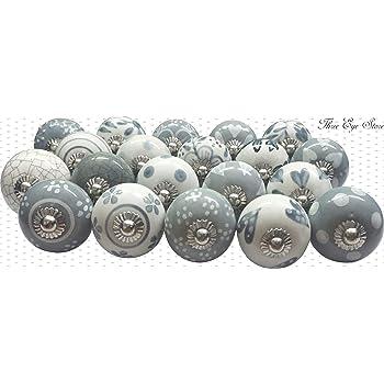 color gris y blanco Juego de 20 pomos de puerta de cer/ámica pintados a mano