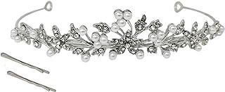 Flower Leaf Faux Pearl Rhinestone Crystal Bridal Tiara Crown Princess Headband For Wedding Prom Silver