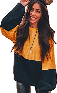 Angashion Women Sweaters-Oversized Chunky Knit Color Block Drop Shoulder Batwing Sleeve Pullover Sweater Tops