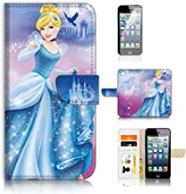 ( For iPhone 8 Plus / iPhone 7 Plus ) Flip Wallet Case Cover & Screen Protector Bundle - A21059 Princess Cinderella
