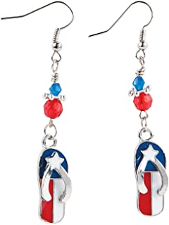 Fun Express - Flag Flip Flop Earring ck for Fourth of July - Craft Kits - Adult Jewelry Craft Kits - Adult Earring - Fourth of July - 6 Pieces