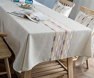 Table de Table Nappes en Coton Imperméable, Chemins De Table Nappes Goutte Géométriques Modernes Brodés, Tissu Table Nappe...