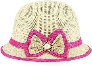 ZOO 夏の子供の 小さな帽子サンシェードボンネット麦わら帽子の活気に満ちたかわいいバージョン。 (色 : ピンク)