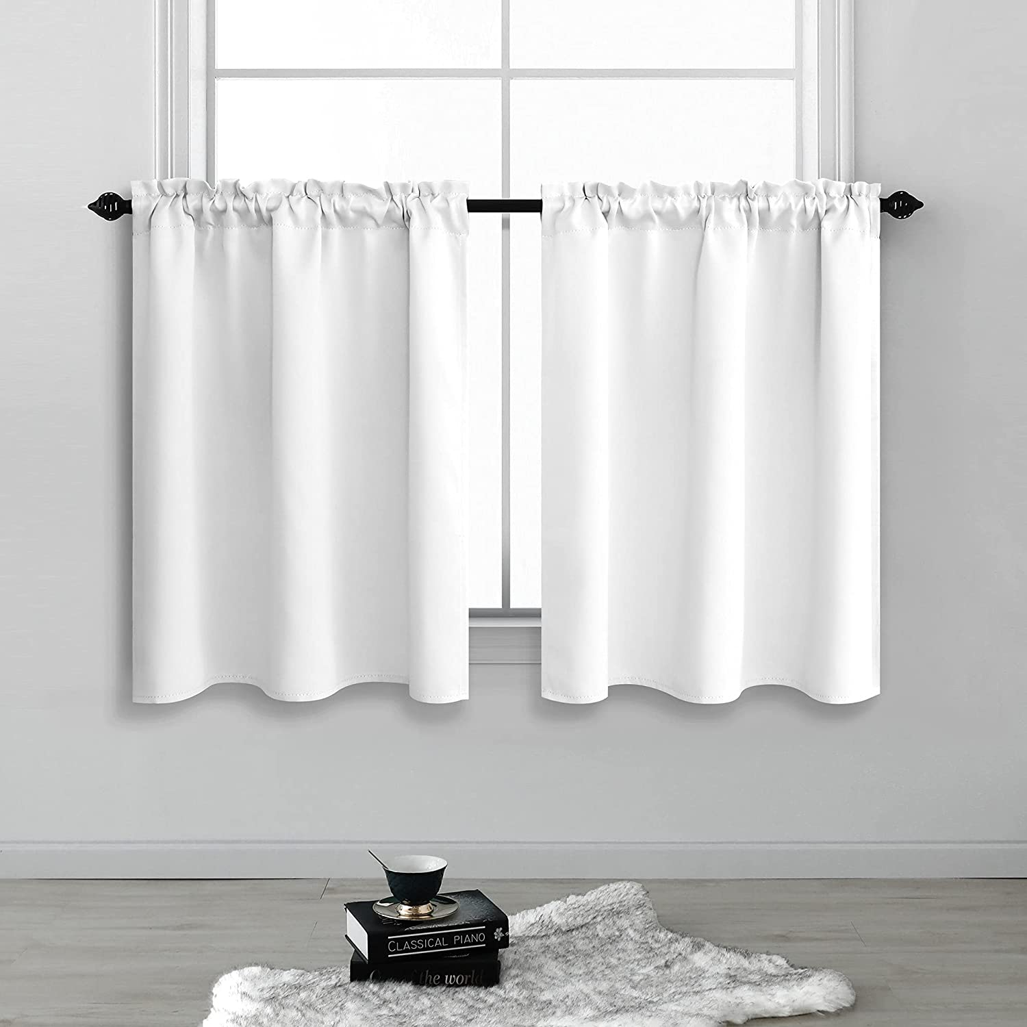 White Blackout Curtains for New product type Bedroom 36 Inch Selling and selling Panels 2 Length Set