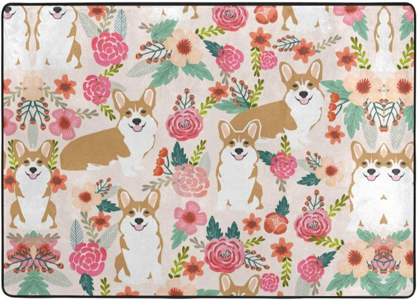 Corgi Floral Flowers Price reduction Printed Area Soft Cheap super special price Rugs Ultra Bedroom