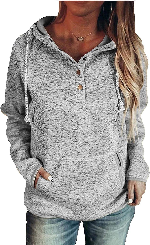 Womens Long Sleeve Casual Pullover Drawstring Hoodies with Pocket Hooded Sweatshirt Tops